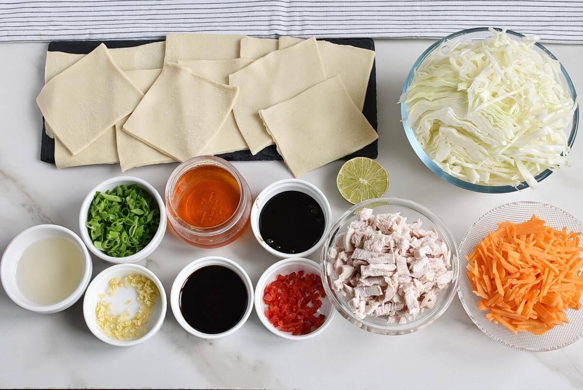 Ingridiens for Thai Chicken Salad Wonton Cups