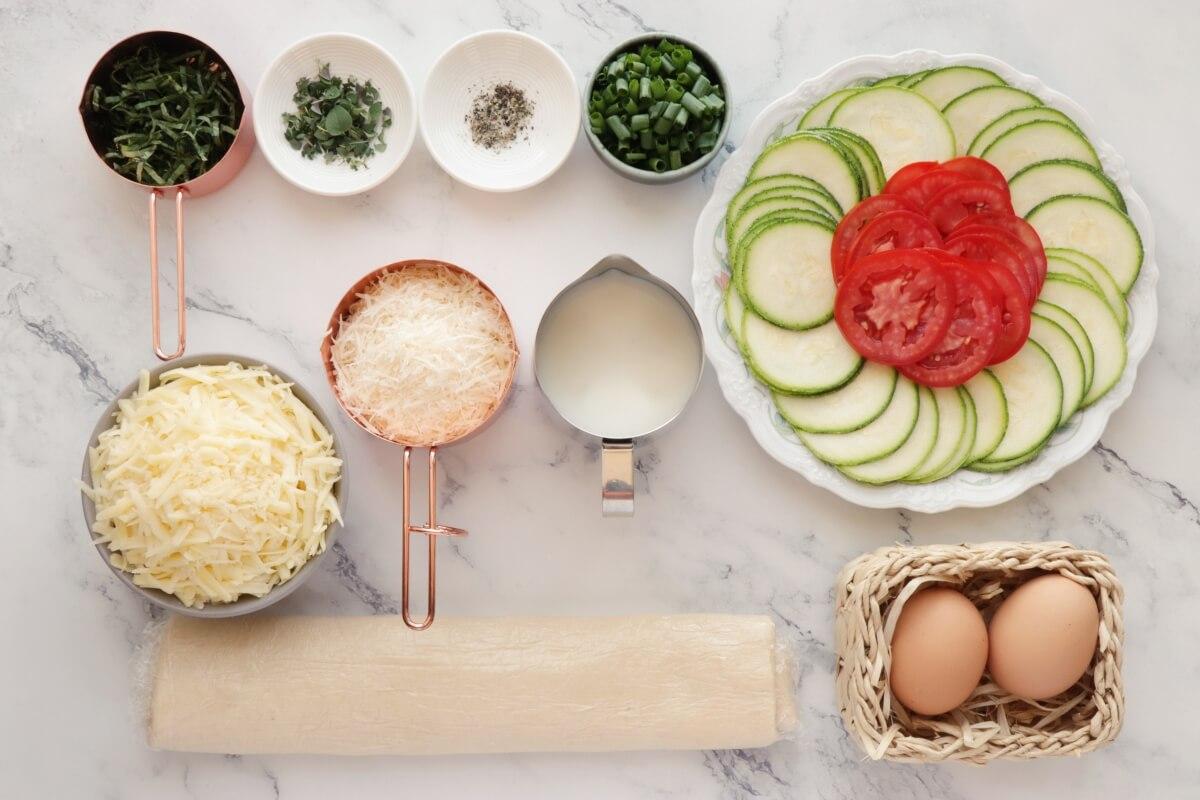 Ingridiens for Zucchini, Tomato and Mozzarella Tart