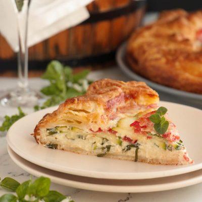 Zucchini, Tomato and Mozzarella Tart Recipe-Tomato Zucchini Tart-Easy Savory Tart