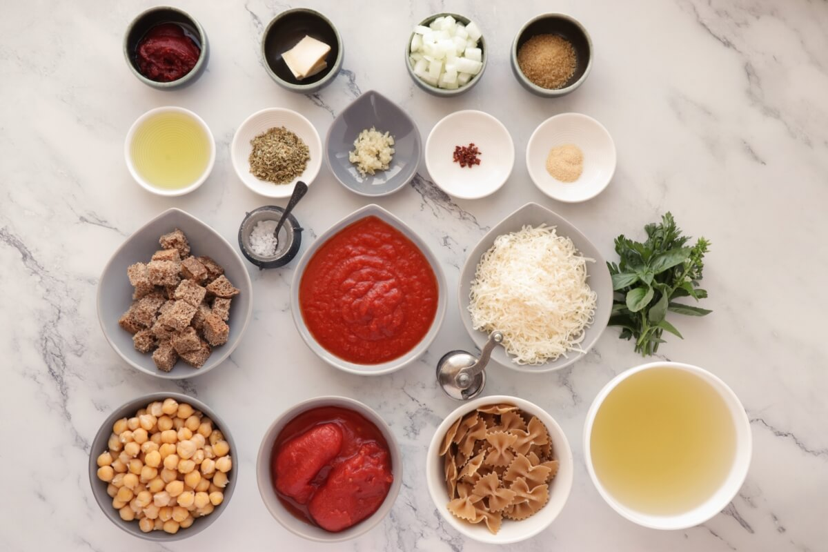 Ingridiens for Chickpea Pasta Soup