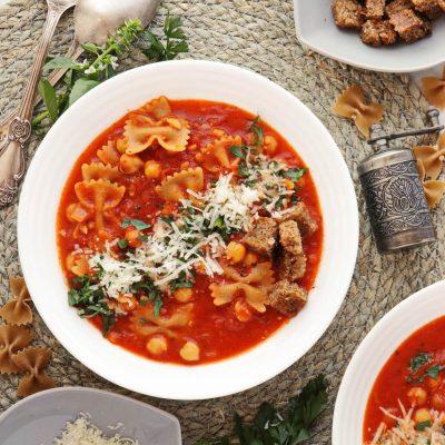Chickpea Pasta Soup Recipe-Tomato Chickpea and Pasta Soup-Easy Chickpea Pasta Soup