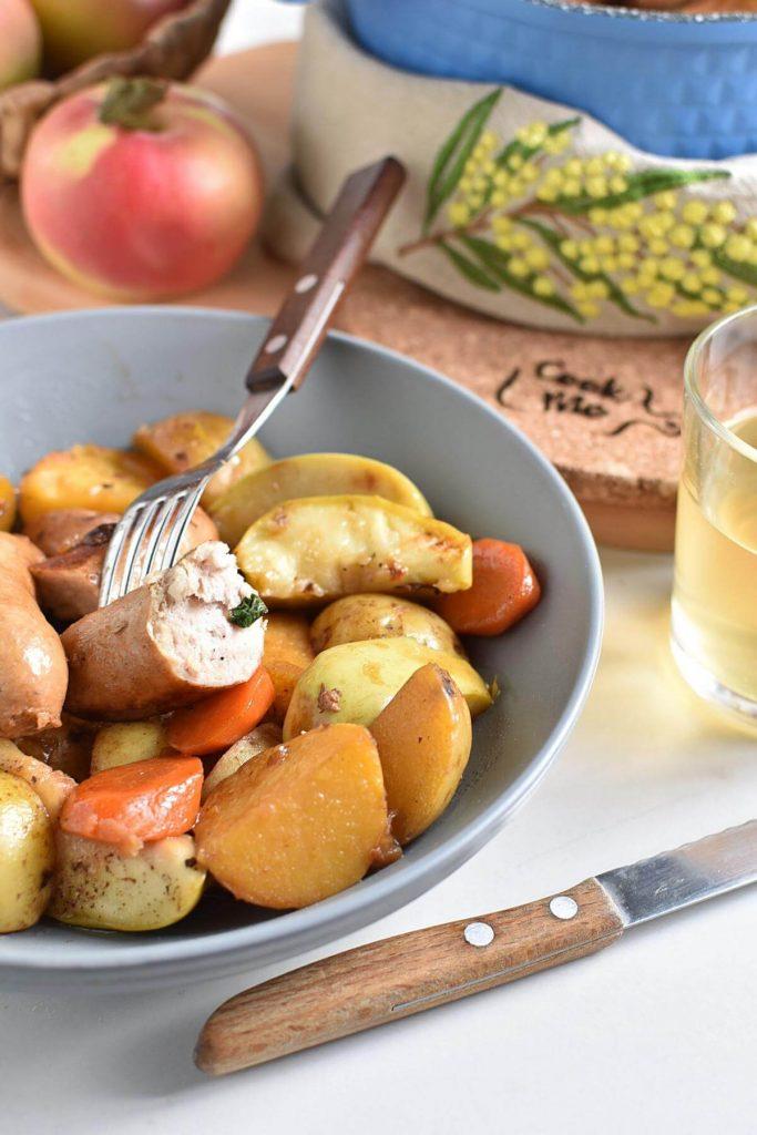 Cider, Apple and Sausage Casserole