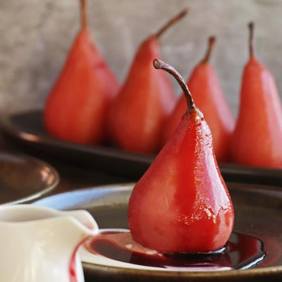 Hibiscus Poached Pears Recipe-Hibiscus Poached Pears with Yogurt-Easy Poached Pears Alcohol Free