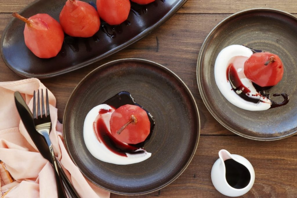 How to serve Hibiscus Poached Pears