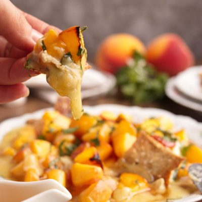 Honey, Basil & Peach Baked Brie Recipe-Baked Brie with Peaches and Honey-Baked Brie