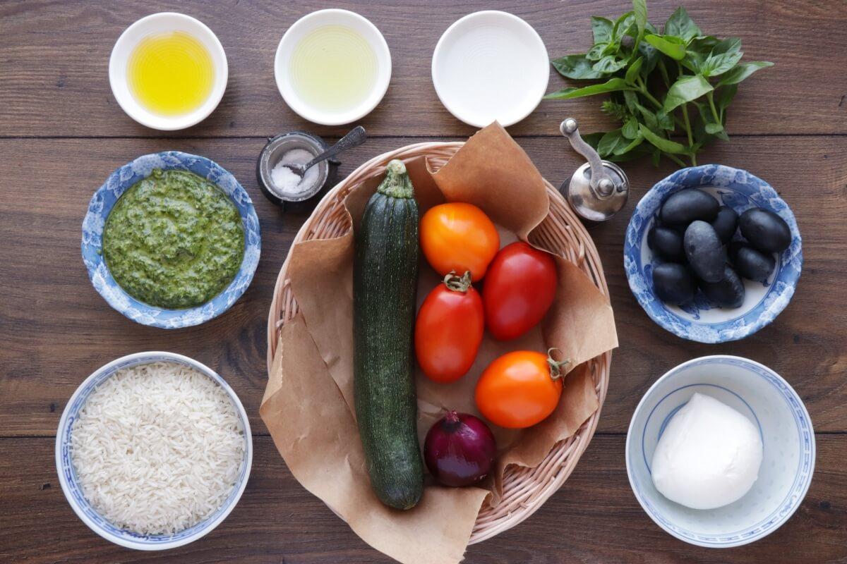 Ingridiens for Mediterranean Vegetable Rice