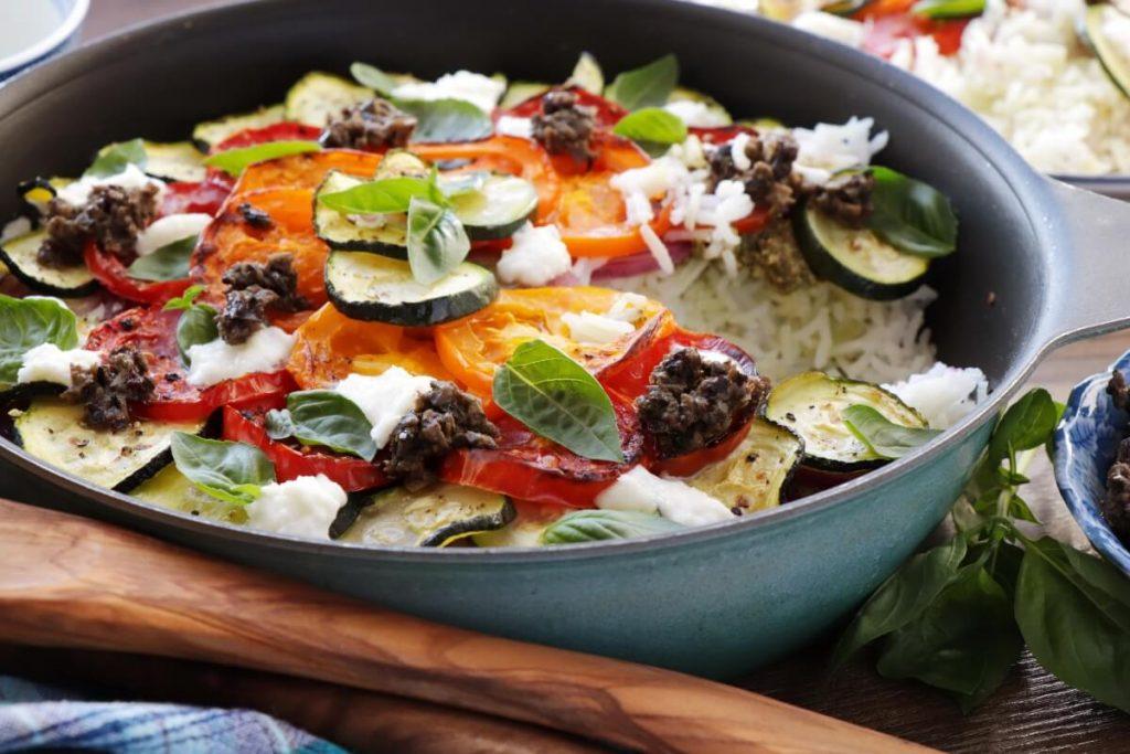 Mediterranean Vegetable Rice Recipe-Baked Mediterranean Rice-Roasted Mediterranean Vegetable Rice