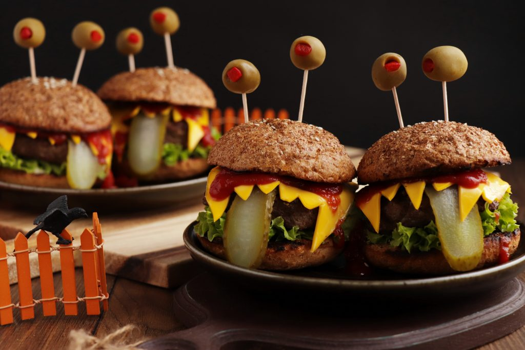 How to serve Halloween Monster Burgers