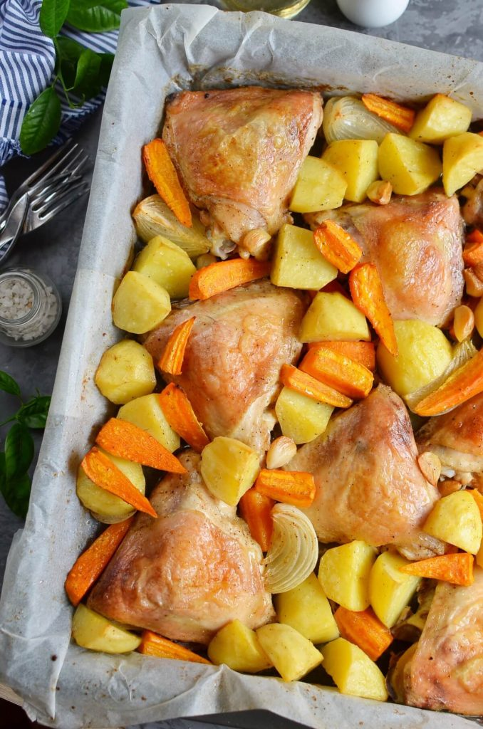 One Pan Chicken and Potatoes Recipe-How To Make One Pan Chicken and Potatoes-Delicious One Pan Chicken and Potatoes