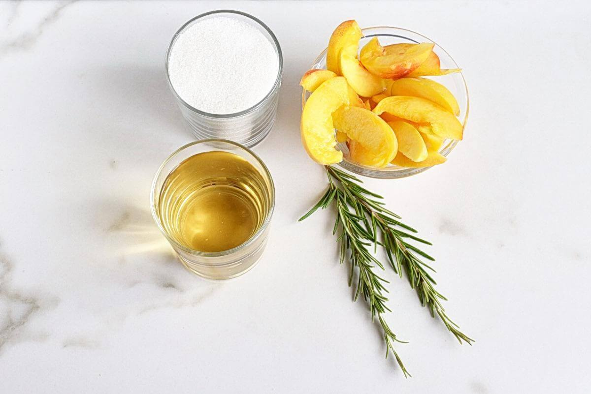 Ingridiens for Peach-Rosemary Shrub Syrup