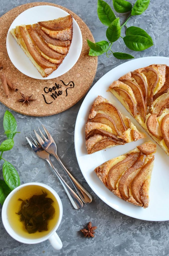 Delicious cake made with pears