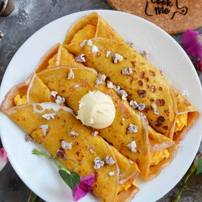 Pumpkin Cheesecake Crepes Recipe-How To Make Pumpkin Cheesecake Crepes-Delicious Pumpkin Cheesecake Crepes