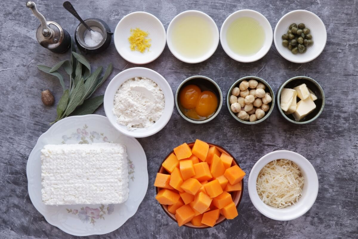 Ingridiens for Ricotta Dumplings with Pumpkin