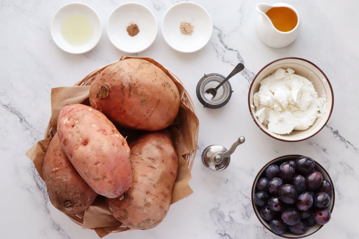 Ingridiens for Roasted Grape, Goat Cheese Stuffed Sweet Potatoes