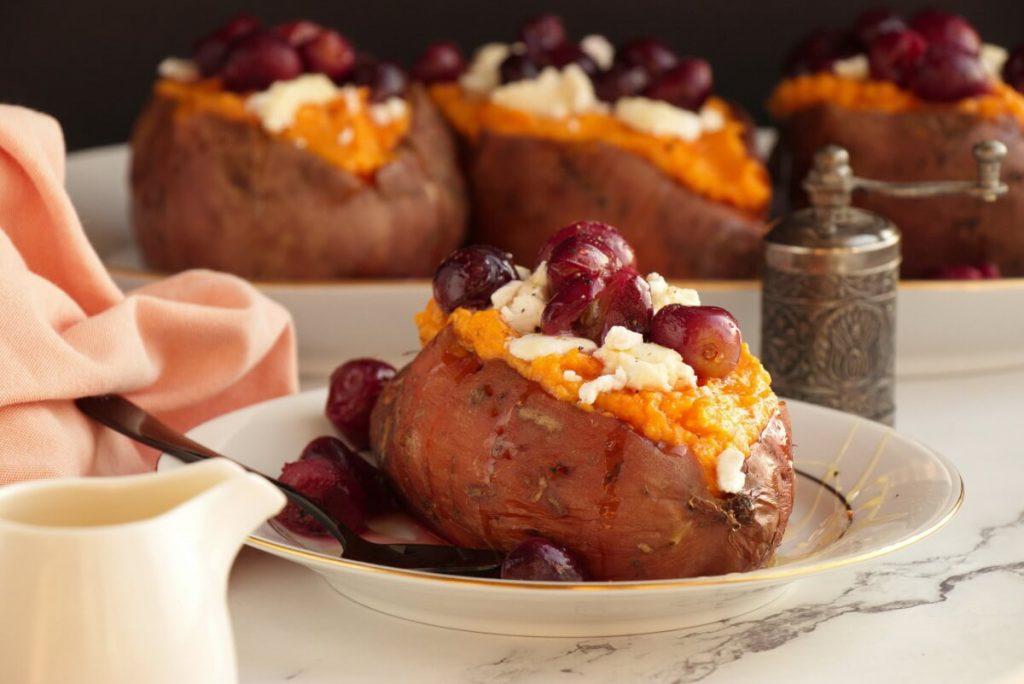 Roasted Grape, Goat Cheese Stuffed Sweet Potatoes Recipe-Goat Cheese-Stuffed Sweet Potatoes-Stuffed Sweet Potatoes