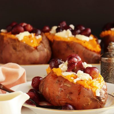 Roasted Grape, Goat Cheese Stuffed Sweet Potatoes Recipe-Goat Cheese-Stuffed Sweet Potatoes-Stuffed Sweet Potatoes