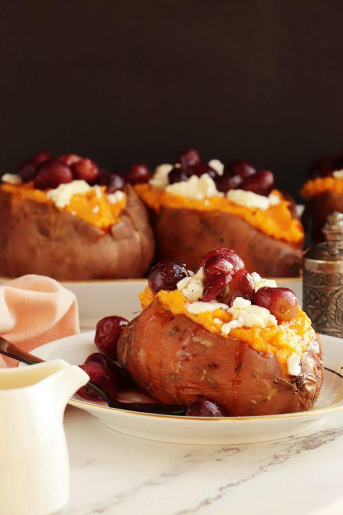 Roasted Grape, Goat Cheese Stuffed Sweet Potatoes