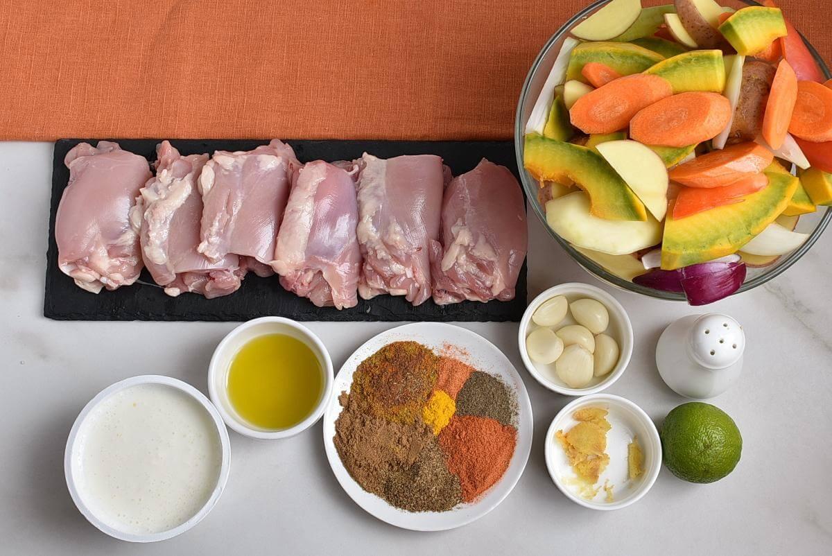 Ingridiens for Sheet Pan Tandoori Chicken