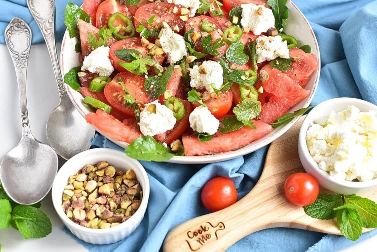 Spicy Watermelon, Ricotta & Tomato Salad Recipes–Homemade Spicy Watermelon, Ricotta & Tomato Salad–Easy Spicy Watermelon, Ricotta & Tomato Salad