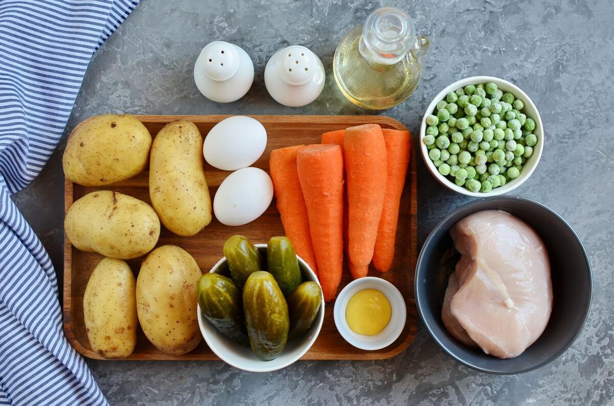 Ingridiens for Boeuf Salad (Romanian Salad)