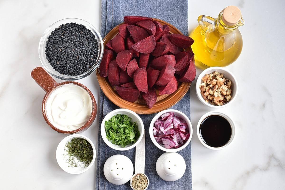 Ingridiens for Healthy Charred Beetroot and Lentil Salad