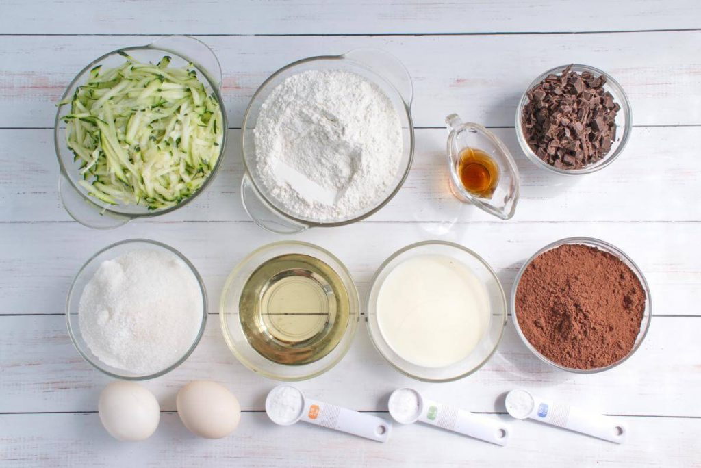 Ingridiens for Double Chocolate Zucchini Muffins