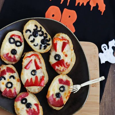 Halloween Baked Potato Skin Pizzas Recipe-Baked Potato Skin Pizzas-Halloween Crustless Gluten Free Pizzas