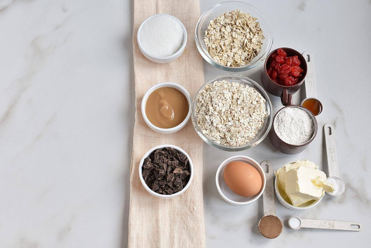 Ingridiens for Healthy Oatmeal Cherry Cookies