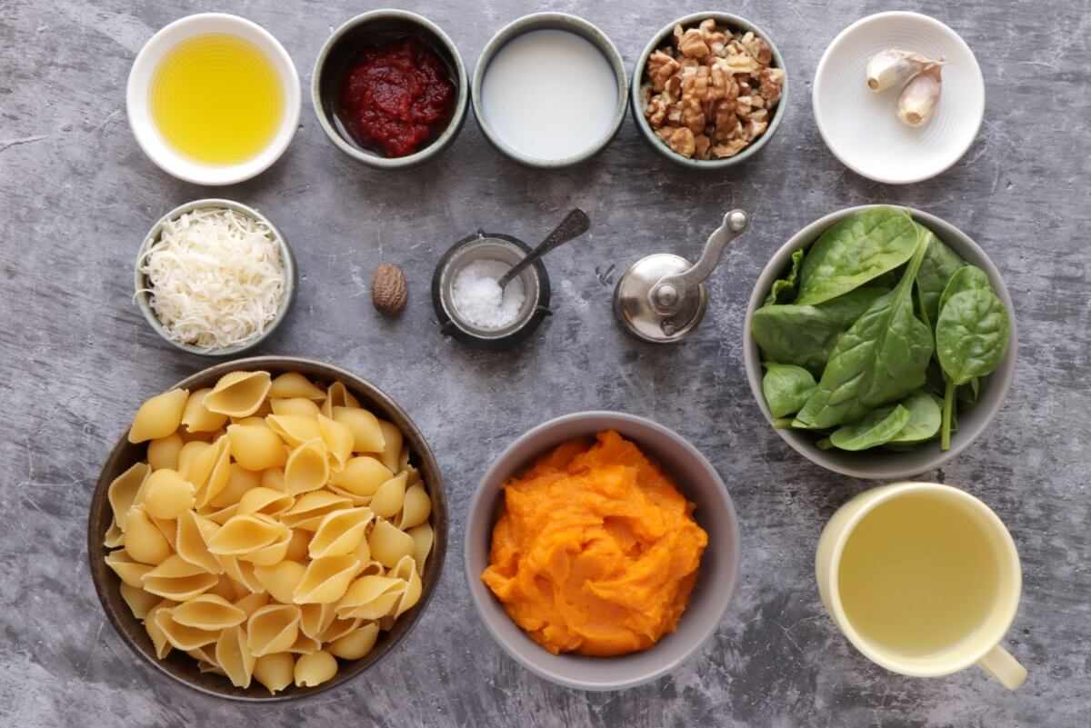 Ingridiens for Pumpkin Pasta with Toasted Walnuts & Spinach