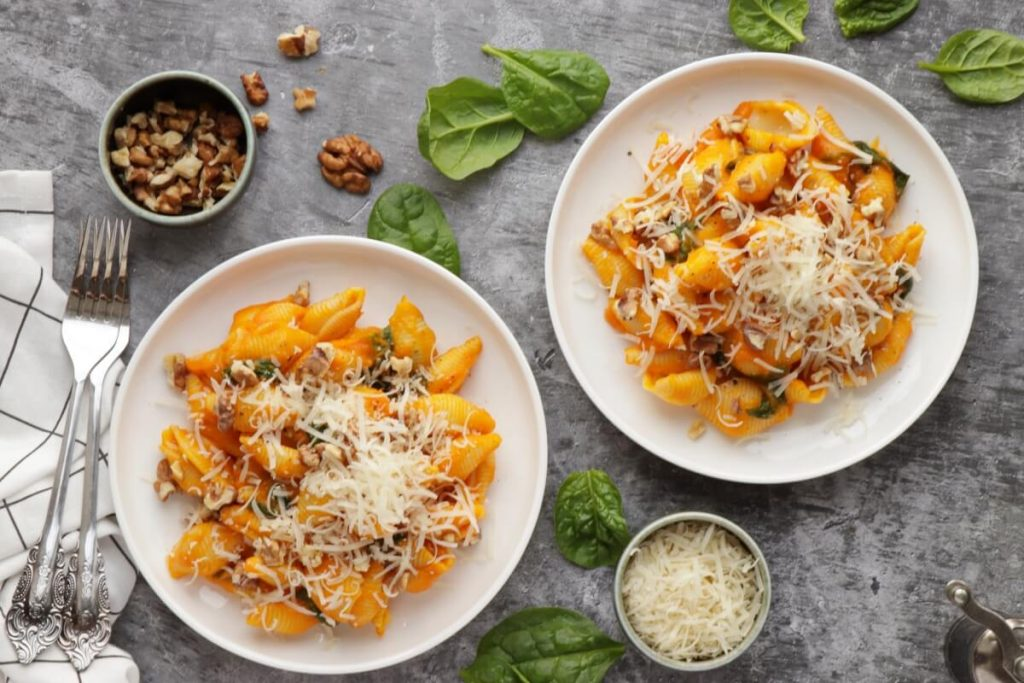 How to serve Pumpkin Pasta with Toasted Walnuts & Spinach