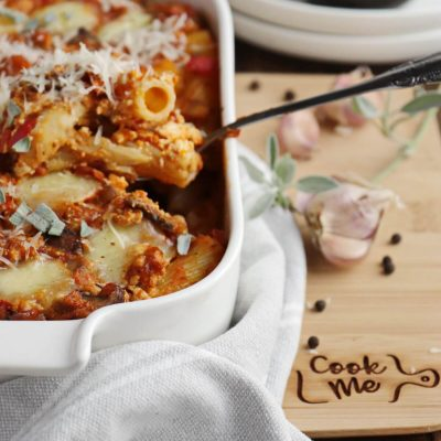 Saucy Baked Pumpkin Pasta Recipe-Cheesy Baked Pumpkin Pasta-Baked Pumpkin Turkey Pasta