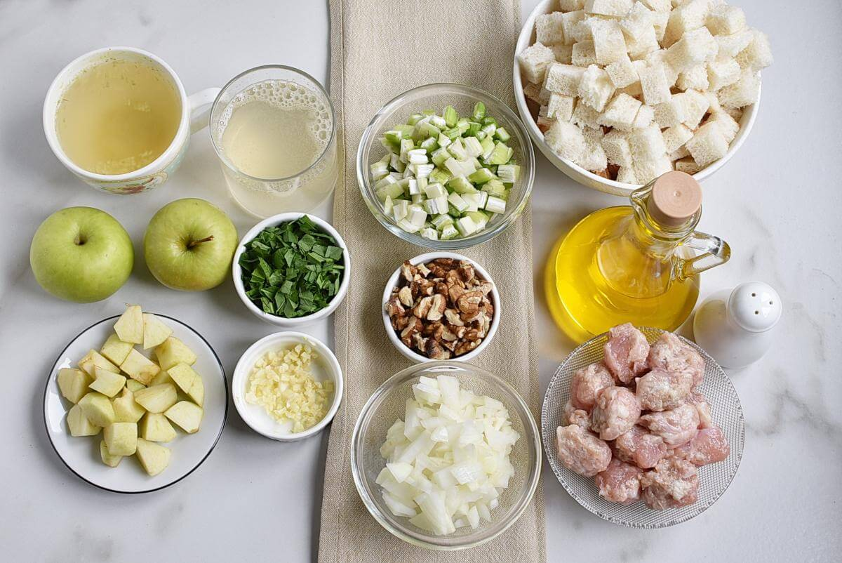 Ingridiens for Sausage, Apple, and Walnut Stuffing