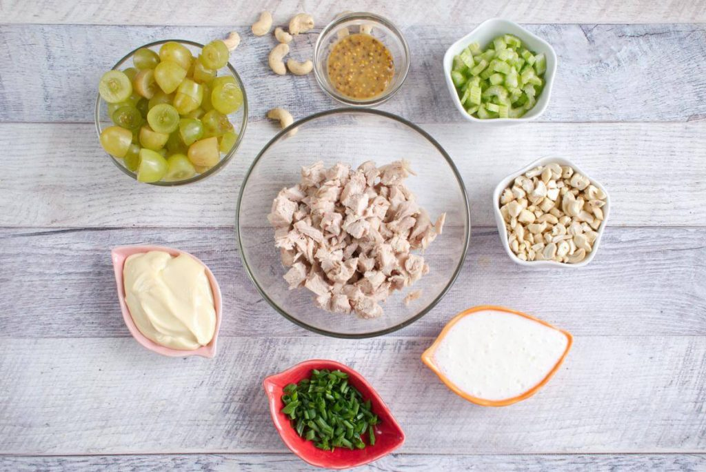Ingridiens for Turkey Salad with Grapes & Cashews