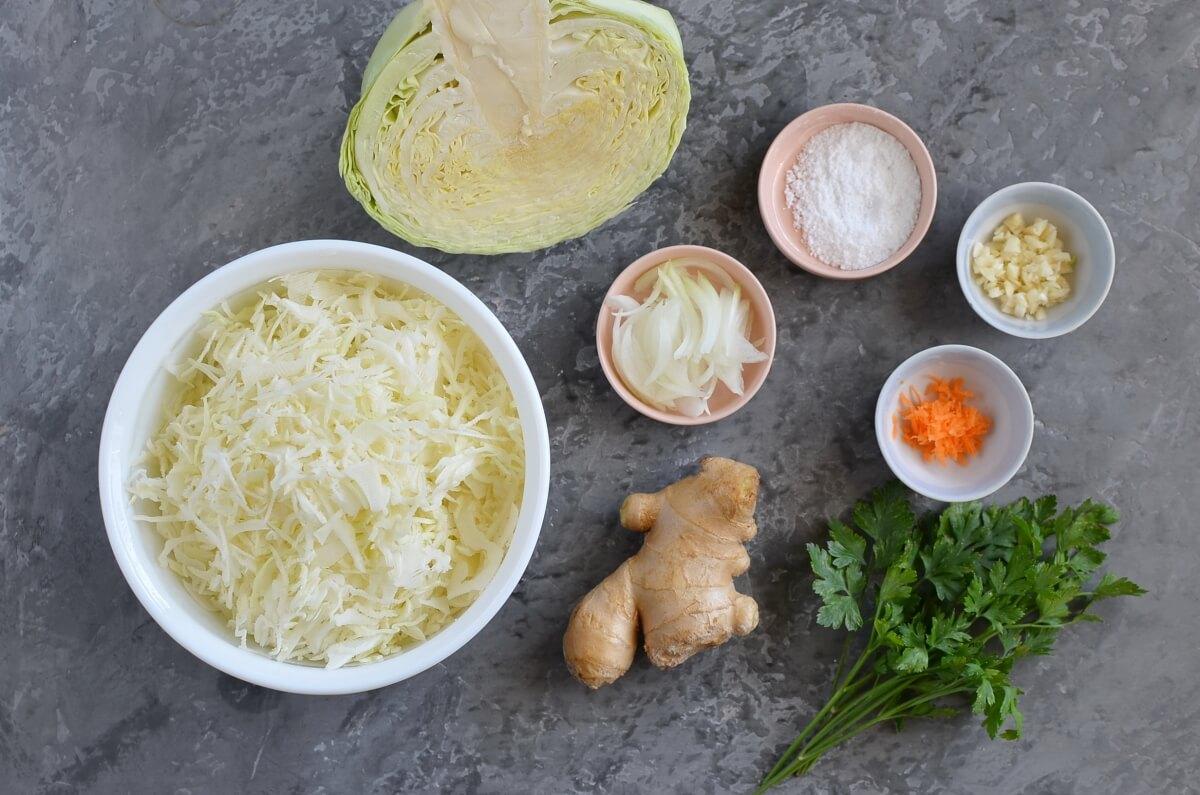 Ingridiens for Turmeric Sauerkraut