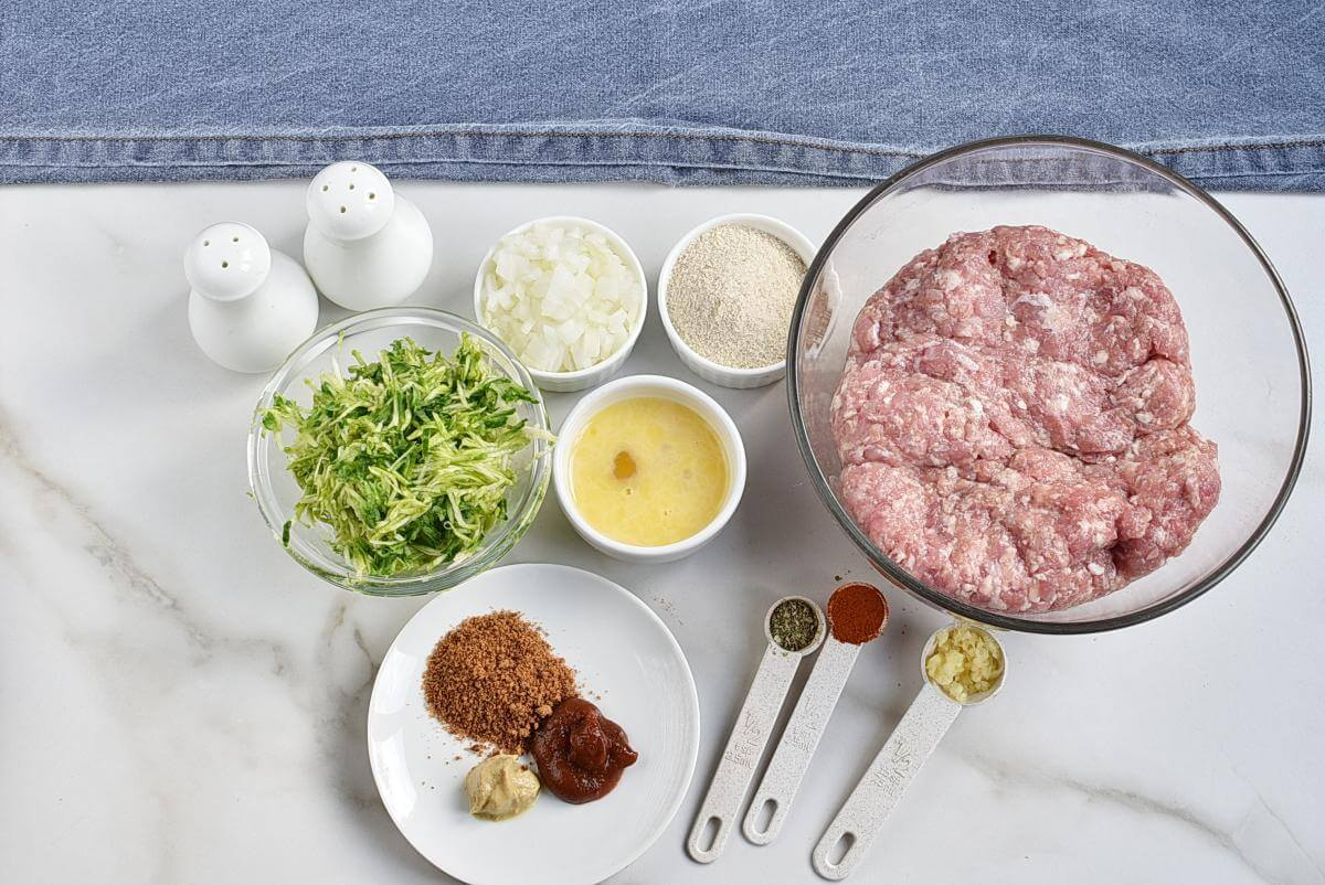 Ingridiens for Amazing Zucchini Meatloaf