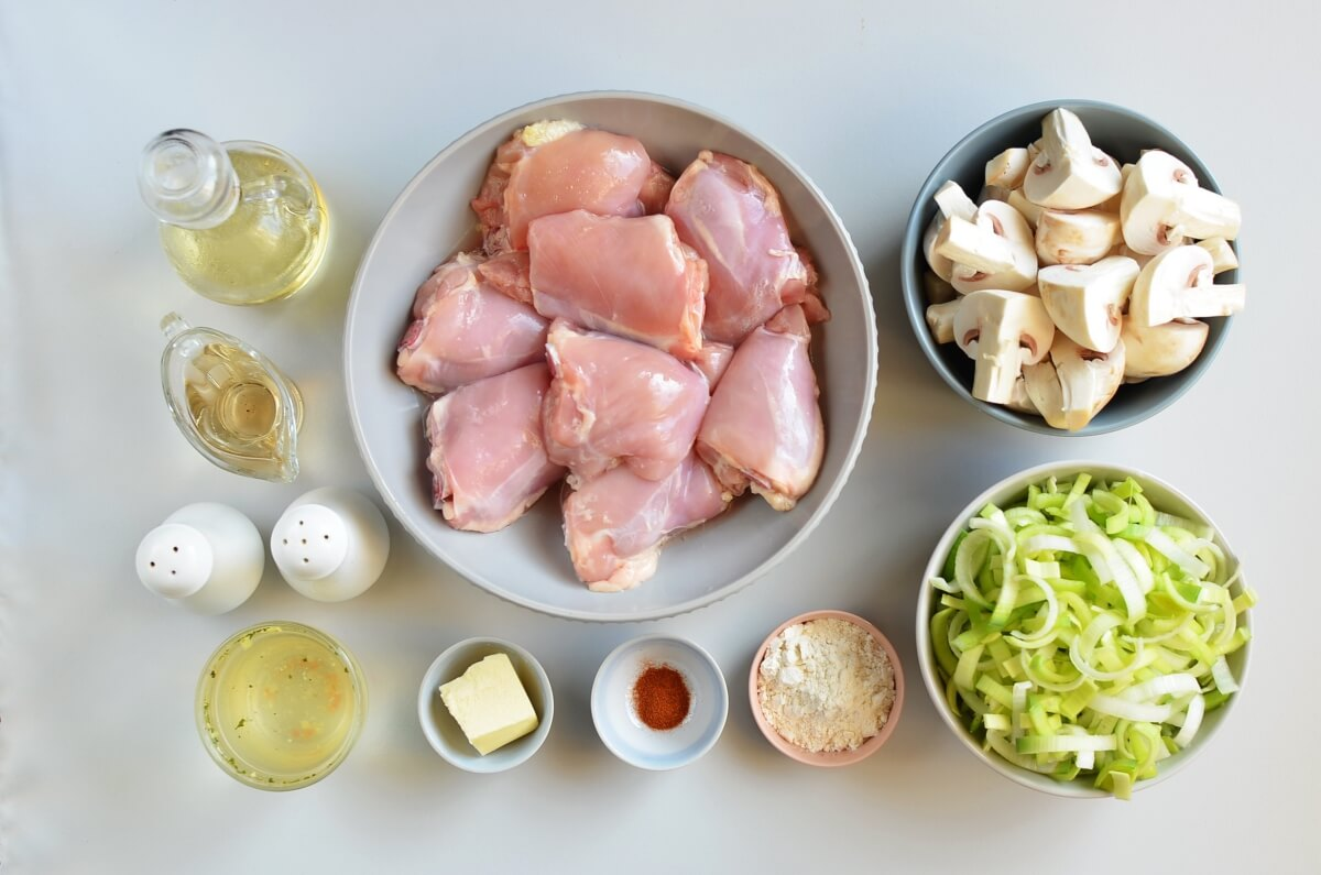 Ingridiens for Braised Chicken Thighs with Mushrooms and Leeks