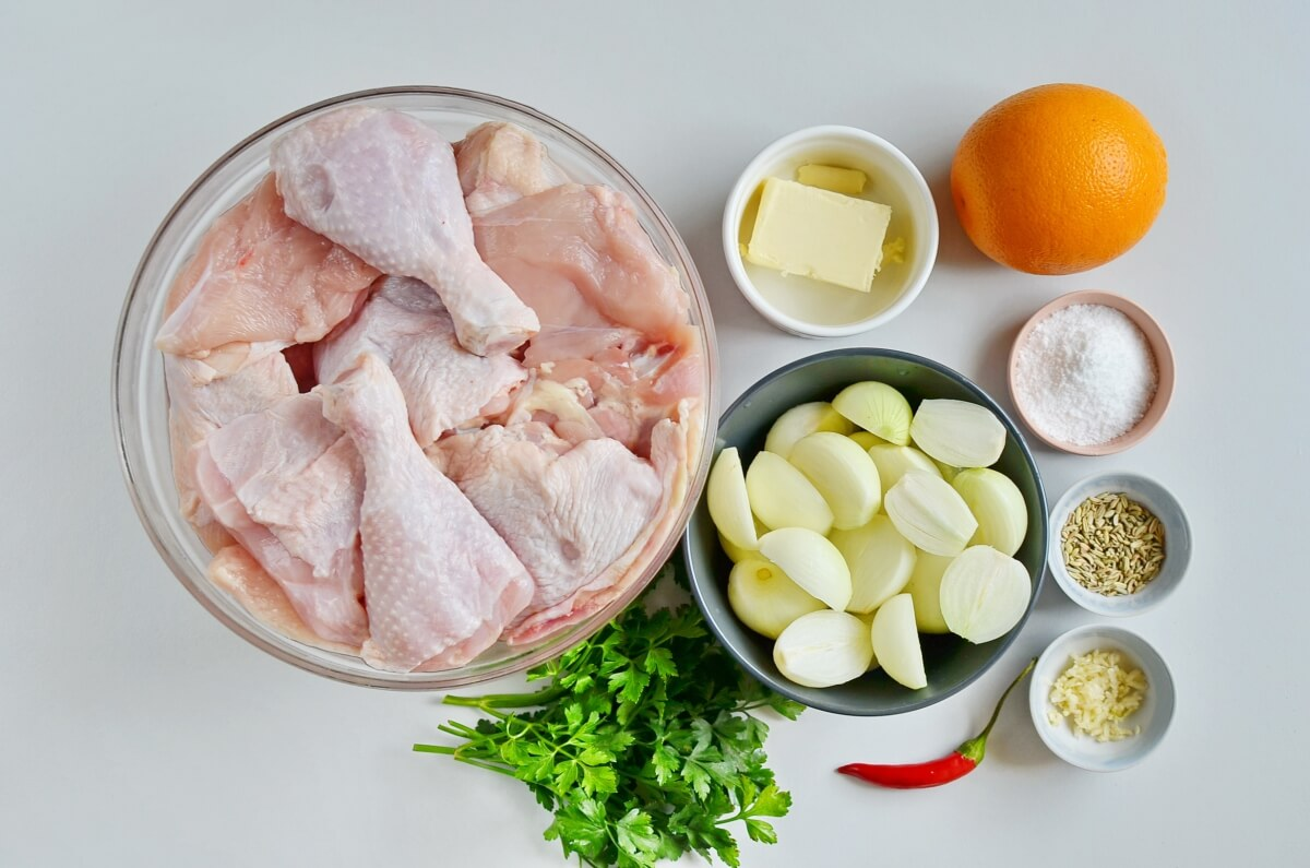 Ingridiens for Chili-Butter Roast Chicken