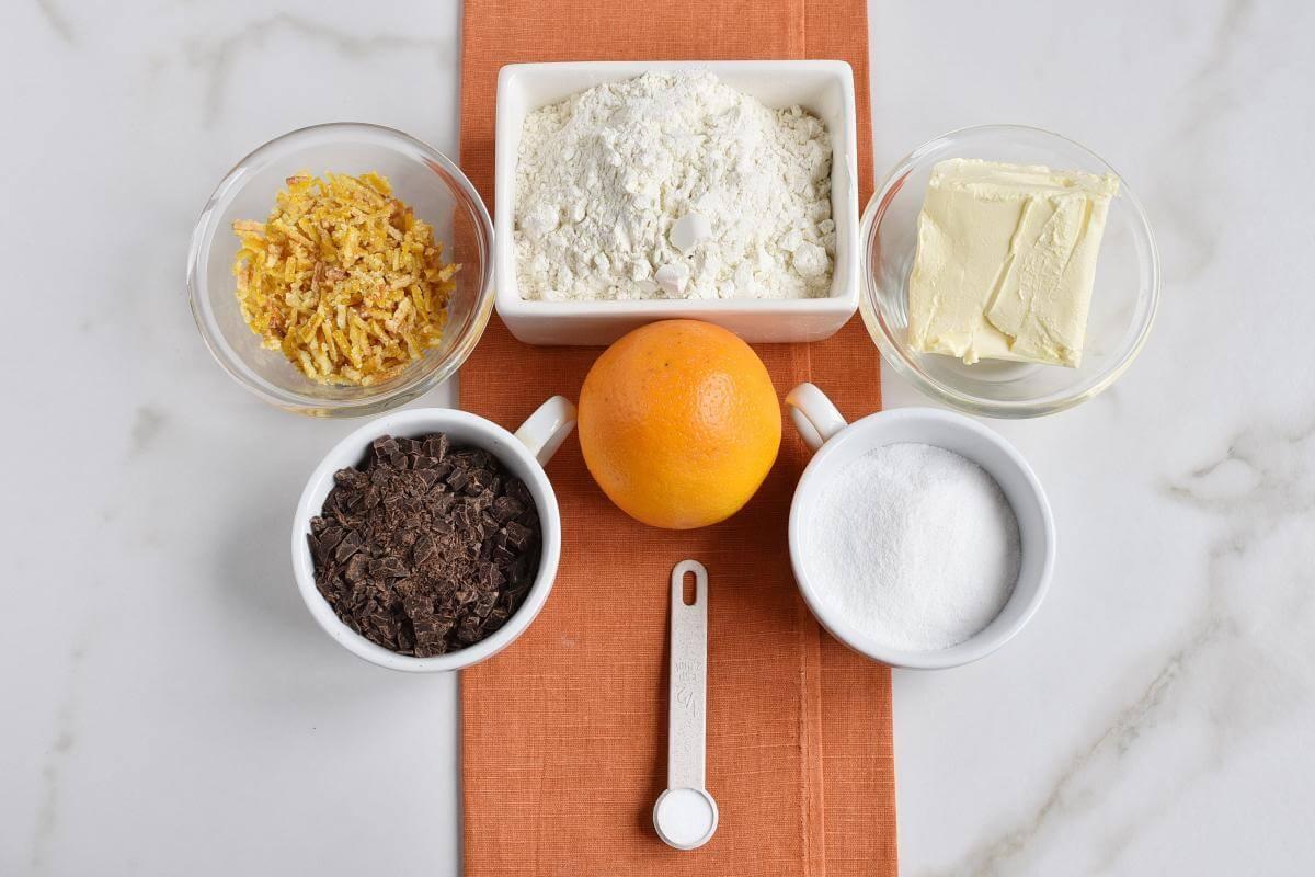 Ingridiens for Chocolate Orange Cookies