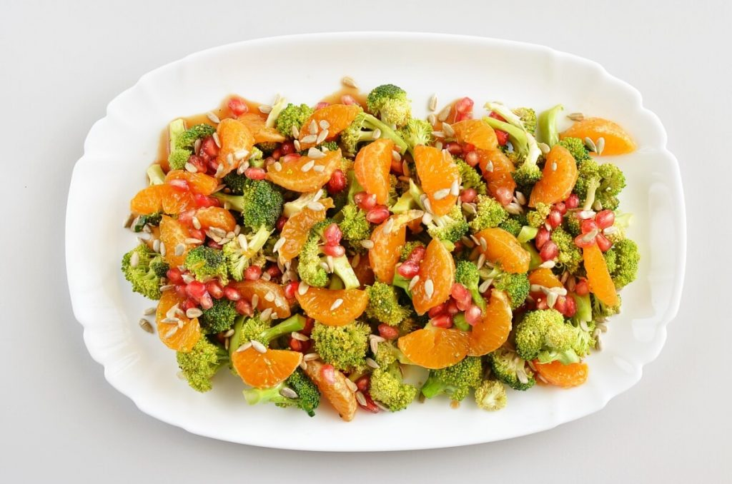 How to serve Christmas Broccoli Salad with Pomegranate