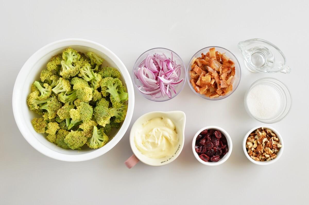 Ingridiens for Christmas Craisin Broccoli Salad