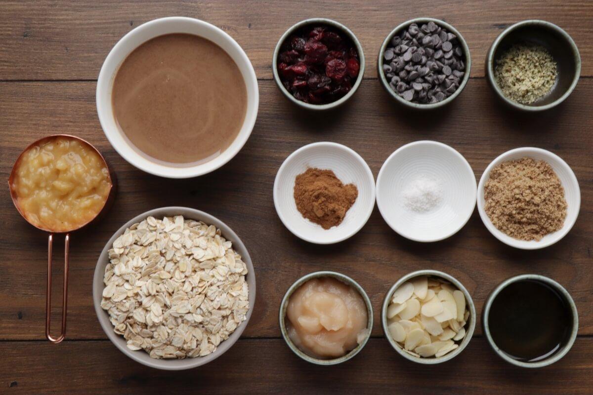 Ingridiens for Healthy Oatmeal Breakfast Cookies