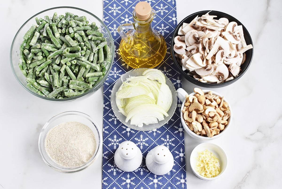 Ingridiens for Healthy Vegan Green Bean Casserole