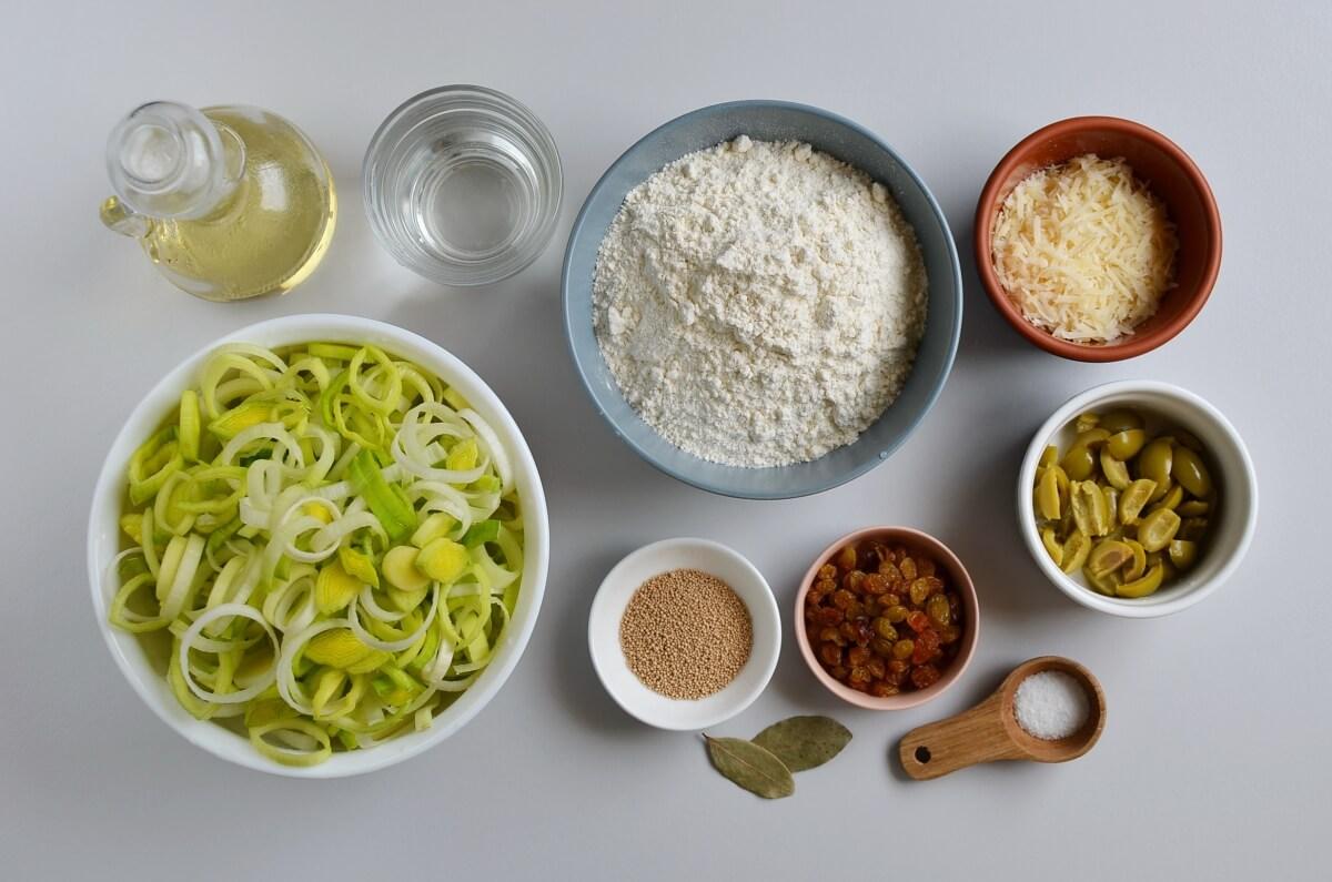 Ingridiens for Leek, Green Olive and Sultana Pissaladière