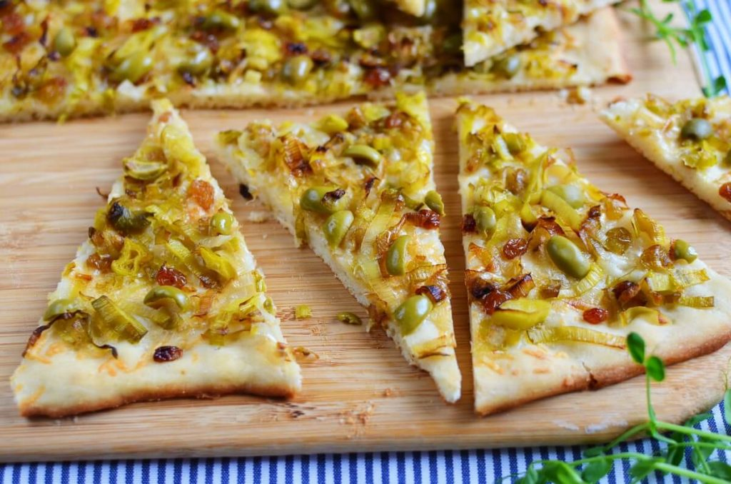 How to serve Leek, Green Olive and Sultana Pissaladière