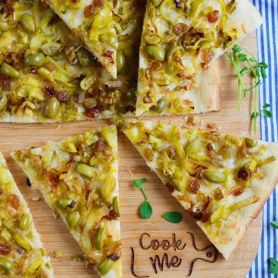 Leek, Green Olive and Sultana Pissaladiere Recipe-How To Make Leek, Green Olive and Sultana Pissaladiere-Delicious Leek, Green Olive and Sultana Pissaladiere