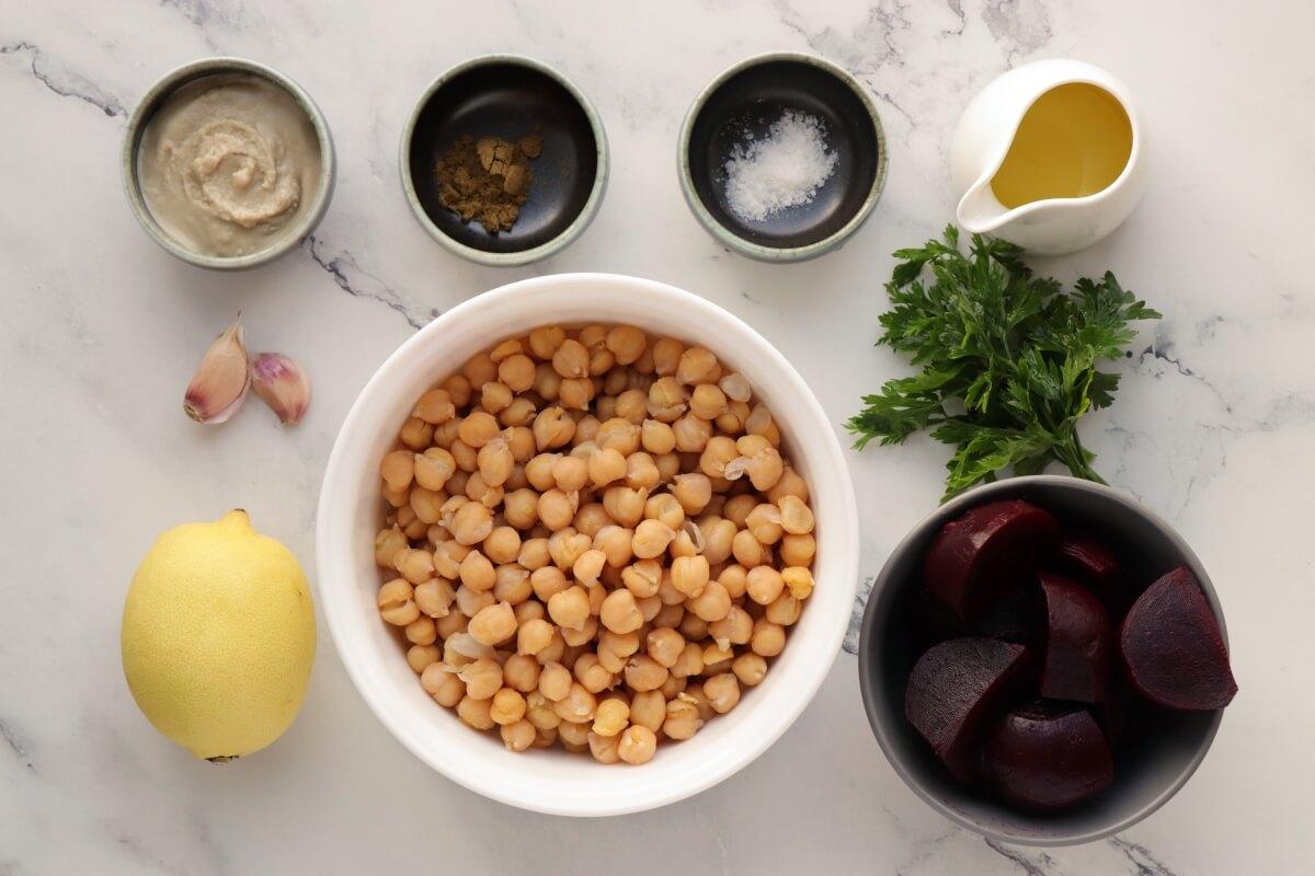 Ingridiens for Lemon Beet Hummus