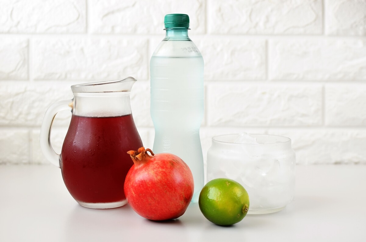 Ingridiens for Pomegranate Lime Spritzer (Non-Alcoholic)