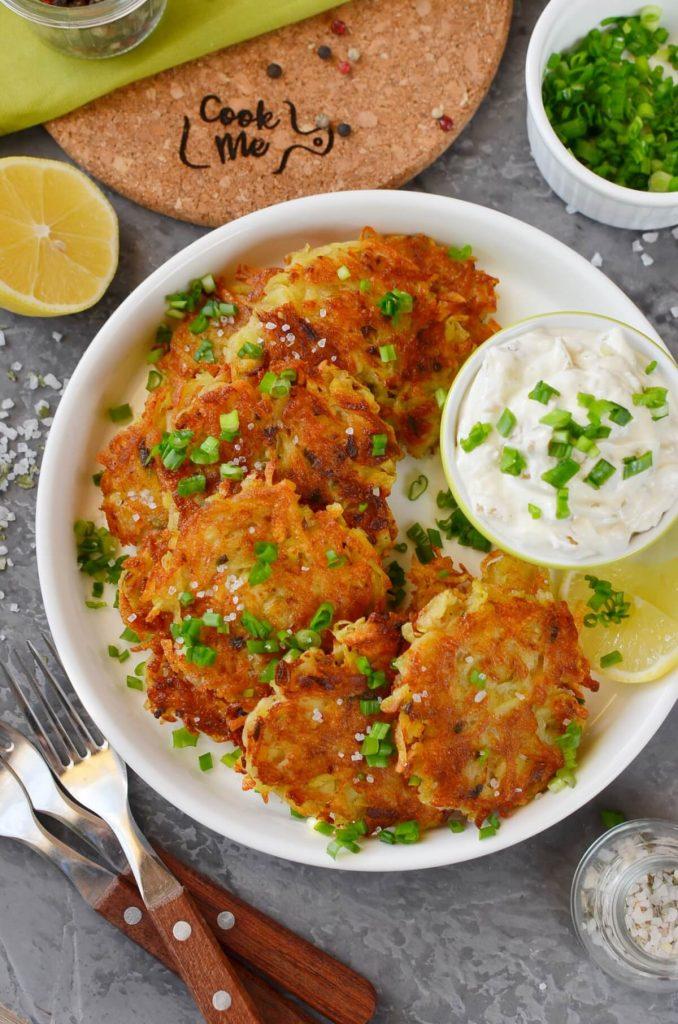 Potato Latkes with Caramelized Onion Sour Cream