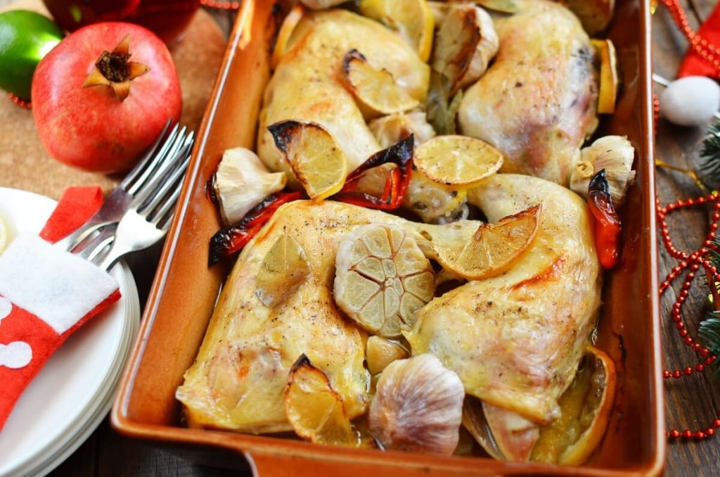 How to serve Roast Chicken Legs with Lots of Garlic