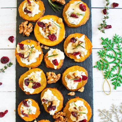 Sweet Potato Rounds with Herbed Ricotta-Sweet Potato Rounds with Ricotta, Walnuts, Cranberries